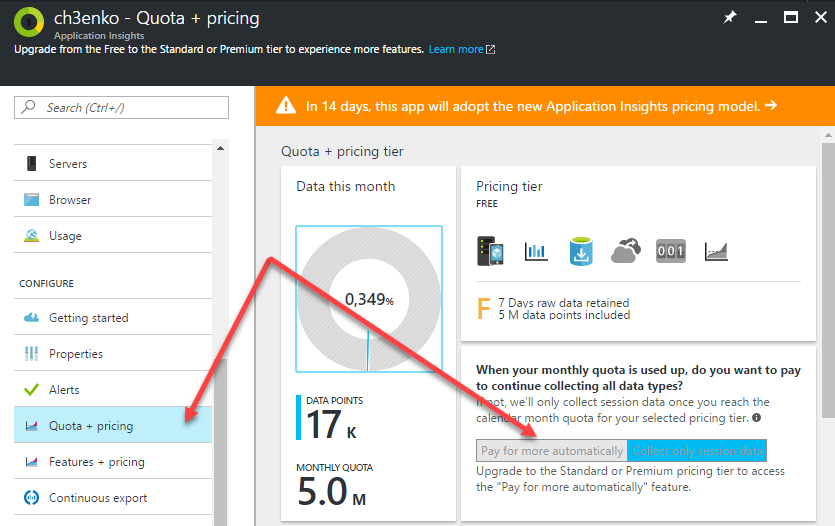 Application Insights pricing limits