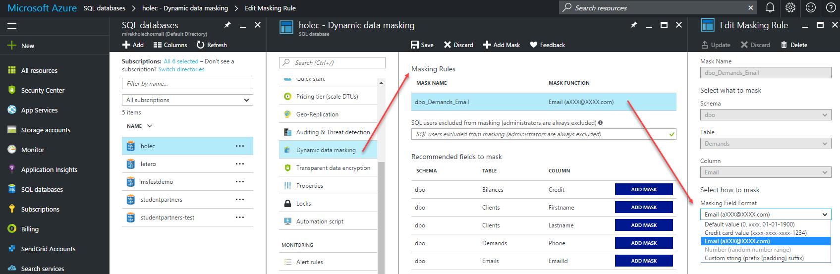 Azure SQL Data Masking