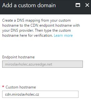 Formulář přidání custom domény