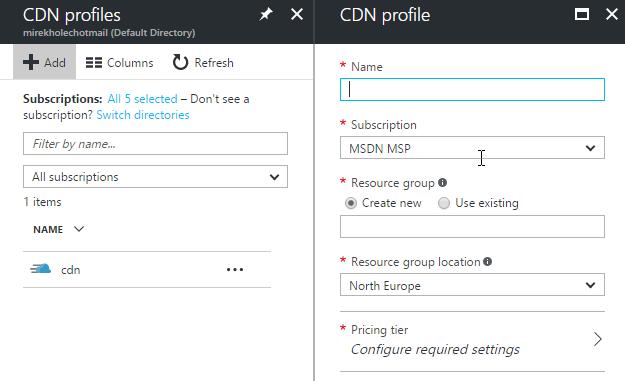 Založení Azure CDN služby