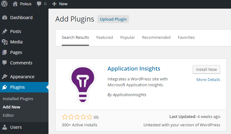 Plugin pro Application Insights