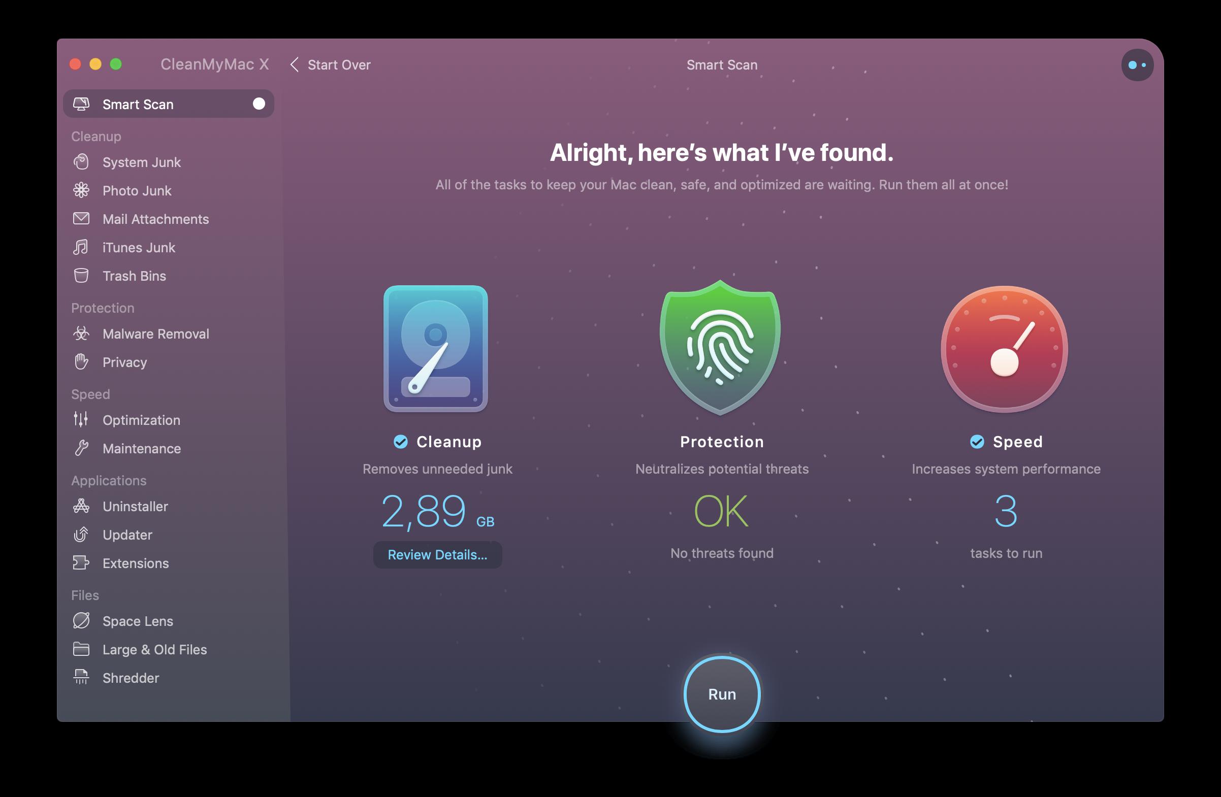 Úvodní screen aplikace CleanMyMac X