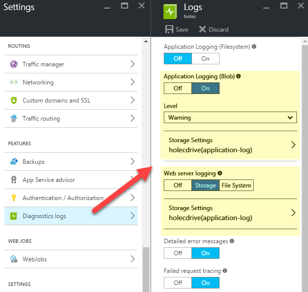 Diagnostics Logs v Azure App Service