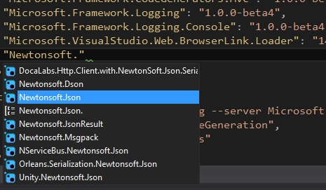 IntelliSense v project.json