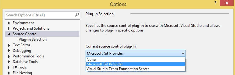 Visual Studio Git provider