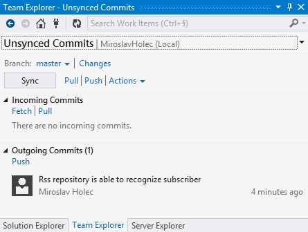 Visual Studio Unsynced Changes