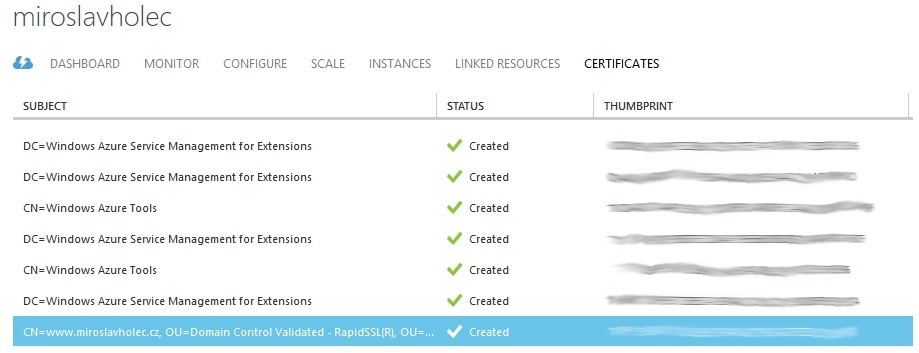 Azure Cloud Service Certificates