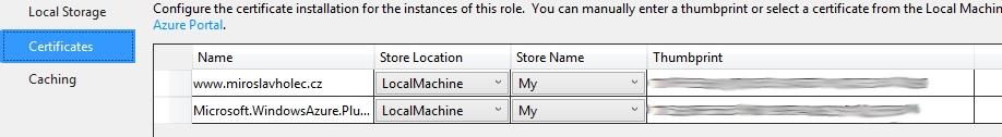 Certifikát v nastavení Azure role