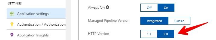 Zapnutí HTTP 2 v App Service