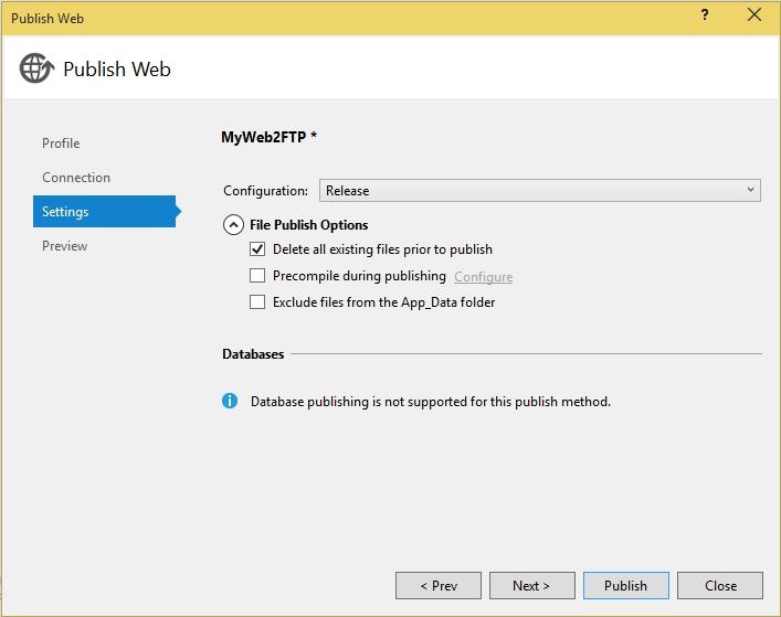 Nastavení publikace na FTP