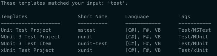 dotnet-new-test-frameworks