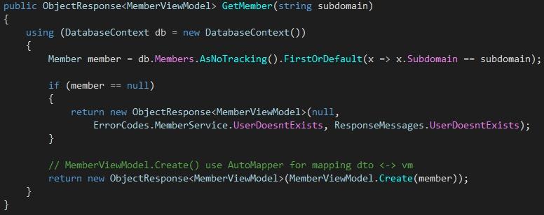 Ukázka implementace metody v Services